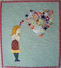Dream a Little Dream - Complete (Cut To Pieces) Tags: girl quilt heart sewing dream fabric applique daydream freemotionquilting threadpainting rawedgeapplique fablittlequiltswap