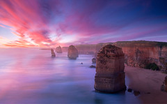Sunset At Twelve Apostles (Greg Weeks Photography) Tags: sunset shadow sea nature rock horizontal port outdoors photography long exposure day wave australia nopeople coastline greatoceanroad campbell scenics rockformation tranquilscene traveldestinations colorimage victoriaaustralia beautyinnature portcampbellnationalpark twelveapostlessearocks