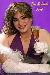 Cheers! (Veronica Mendes (formerly Toni Richards)) Tags: tv cd feather transgender boa gloves transvestite toni lipstick satin richards crossdresser tg makeove