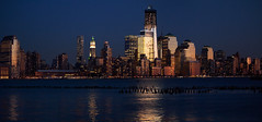night lights (dicegirlsnapz) Tags: city nyc skyline reflections evening construction downtown pano freedomtower 1wtc