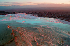 Blue and Pink (Bernard l Hermite) Tags: pink sunset mountains ice water colors turkey landscape turquie getty icy paysage pamukkale gettyimages vasque
