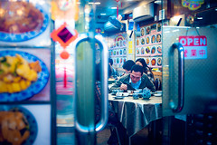 Open (TGKW) Tags: blue light portrait people food man sign night restaurant cafe open bokeh eating candid chinese doorway nightlife macau shanghainese 6736