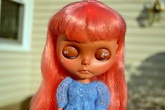 pepper puddlesworth (cybermelli) Tags: pink sky hair doll sad skin heather tan biscuit blythe freckles custom hybrid dainty tiina scalp rbl
