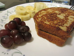 Day 340 - Saturday brunch? (GPrime83) Tags: breakfast canon lunch banana frenchtoast grapes brunch project365 project366 peanutbutterjamsandwich elph100hs