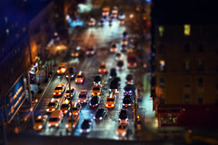 Night's the only time of day (1/2) (Linh H. Nguyen) Tags: street nyc newyork cars night lights headlights taxis tilt nex5n