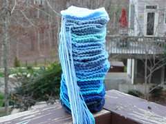 A stack of blue squares ready to be a baby blanket (crochetbug13) Tags: blue squares crochet littleboyblue acrylicyarn nanasquare royalsisters