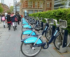 More Boris Bikes (helenoftheways) Tags: uk people london bicycles barclays pottersfields borisbikes