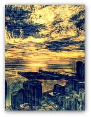 Navy Pier & the lake (doug.siefken) Tags: lake art sunrise pier michigan navy chicagos 4s iphone chicagoillinois painteresque idarkroom siefken dougsiefken iphoneography navypierandthelake