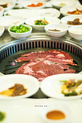 Myung Ga (speak slowly) Tags: food dinner restaurant beef bbq meat korean barbecue sector plates 29 soju gurgaon myungga
