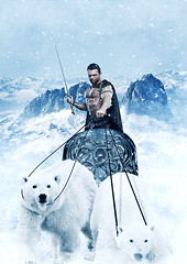 The Silver Warrior (LalliSig) Tags: bear portrait people snow man ice silver studio frank wagon iceland action fantasy portraiture sword warrior polar bodybuilder frazetta