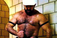 hairy bearded worker (Farmerbaer) Tags: hardhat hairy husky beefy burly bearded sturdy rugged brawny muscled bauarbeiter hairychested stocky constructionguy swissworker machoworker