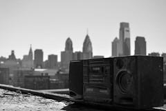 boom box ([E-Tank]) Tags: street city roof urban bw abandoned philadelphia skyline architecture nikon box north boom adventure explore stereo philly 365 exploration broad urbex d5100