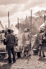 [2014-04-19@14.29.04a] (Untempered Photography) Tags: history costume smoke helmet medieval filter weapon knight duotone armour reenactment combatant livinghistory splittone canonef50mmf14 perioddress polearm platearmour gambeson poleweapon paviliontent untemperedeye canoneos5dmkiii untemperedeyephotography glastonburymedievalfayre2014