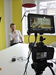 Three views of Nick Kent (fsm vpggru) Tags: camera canon corporate video monitor hd filming behindthescenes bts nickkent ac7 smallhd