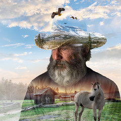 Rocky Mountain Dreams (Ms Stacy) Tags: sky horse mountains hat clouds photoshop cowboy eagle doubleexposure blending