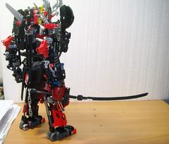 LEGO BLACK Samurai Warrior [M.O.C] (demon14082001) Tags: shadow black robot lego technic bow warrior samurai katana creature bionicle mecha spear moc