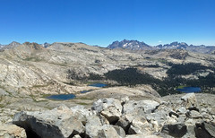 Isberg Lakes and McClure Lake with Ritter Range in background, seen from Isberg Pass (kennsrempel) Tags: anseladamswilderness mcclurelakesmaderacountycalifornia isberglakesmaderacountycalifornia ritterrangemaderacountycalifornia