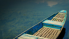 A Kashmiri Boat (Sandeepmistry1) Tags: travel blue vacation sunlight lake reflection water clouds boat wooden holidays day sailing handmade indian traditional transport floating clear boating destination handcrafted kashmir dallake