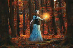 In the Forbidden Forest (Moonless_Nigth_and_Melancholy) Tags: light nature girl forest photomanipulation dark woods fairy fantasy mysterious dreamy conceptual forbiddenforest