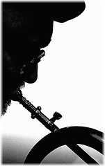 """Jazz Noir"" (""SnapDecisions"" photography) Tags: arizona music silhouette blackwhite nikon noir tucson jazz nightclub horn pastiche d800 flugelhorn dmitrimatheny hirschfeld"