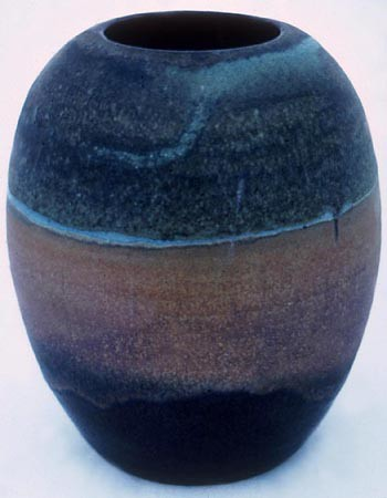 Landscape Jar, Stoneware, Height 9 Inches