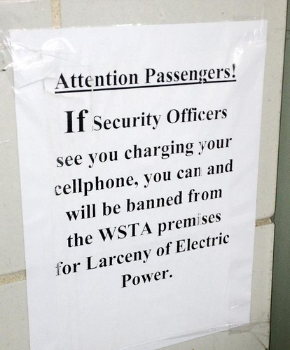 If Security Officers see you charging your cell phone, you can and will be banned from WSTA premises for Larceny of Electric Power.