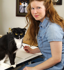TaraFly and Dominic (taraflyphotos) Tags: portrait female illustration studio artist painter denim tuxedocat redhair draftingtable animalart blackandwhitecat catart catartist tarafly