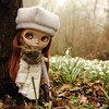 Out in the flowers (Button Cottage Blythe) Tags: red mist hat fog spring big eyes doll head coat foggy retro snowdrops blythe takara prairieposy