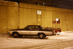 90 Minute Parking (Flint Foto Factory) Tags: chicago illinois urban city winter february 2012 night nocturnal evening friday 1984 1985 buick lesabre 4door sedan fullsize twotone tutone generalmotors gm flint michigan rwd rearwheeldrive dominicks grocery store parking lot carpark shopping carts cta chicagotransitauthority l train tracks snow lonely worldcars
