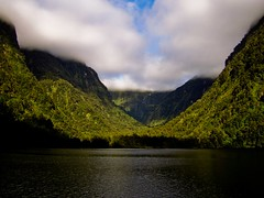 Valley of Clouds (Timothy Hunter) Tags: newzealand mountains reflection nature water clouds contrast landscape scenery samsung nz lordoftherings fiord doubtfulsound middleearth fiordlands