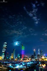 Kuwait - Night View & Moon (Abdulaziz ALKaNDaRi | Photographer) Tags: sky moon color colour water night speed canon lens outdoors photography eos rebel high aperture exposure photographer gulf view shot quality east iso explore photograph arab arabia kuwait arabian hq feb middle length 18200 ef 2012 q8 sharq focal kwi  abdulaziz      kuw   550d  q8city   t2i arabgulf kesslercrane  alkandari blinkagain abdulazizalkandari wearab