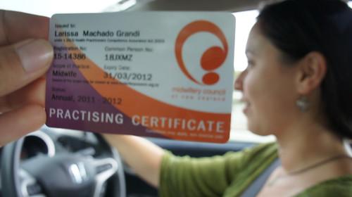 Certificado de Midwife da Larissa