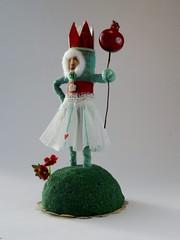 OOAK Spun Cotton Red Heart Little Queen in Green