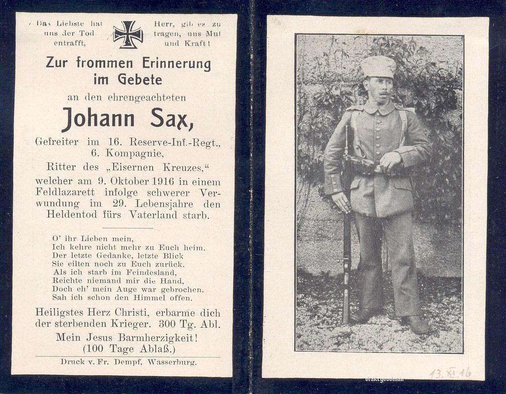 Sterbebild for gefreiter johann sax 16 bavarian reserve infanterie regiment ✠ drakegoodman ✠