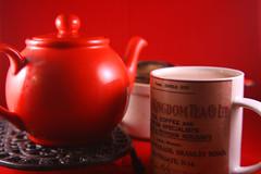 Day 029 - Teatime (Ben936) Tags: red tea wroughtiron mug teapot strainer teapotstamd