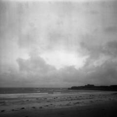 Promontory (Monkey Tennis) Tags: sea sky blackandwhite bw 120 6x6 film beach clouds mediumformat square iso400 super ilford guernsey channelislands castel expiredfilm vazon sporti kodaktrixpan tx6043 ilfordsupersporti