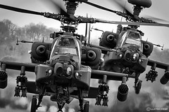 AgustaWestland Apaches (lloydh.co.uk) Tags: 2 white black west green monochrome up silver army flying airport haze nikon close aviation air attack 300mm helicopter corps heat pro nikkor f4 stourbridge midlands wolverhampton halfpenny apaches ah64 efex agustawestland d300s