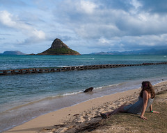 A Moment of Calm [Explored] (Peter E. Lee) Tags: ocean winter beach water clouds landscape island hawaii unitedstates oahu horizon kaneohe pacificocean tropical hi samantha eastern windward 2012 chinamanshat mokolii kualoaregionalpark humanelement