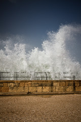 Splish Splash (JeremyMP) Tags: ocean winter tourism fun coast harbor israel cool interesting ancient ruins waves roman palestine creative spray explore splash caesarea lr3 travelphotography mediterraneanocean tamron1750mm lightroom3 canon7d jeremympiehler