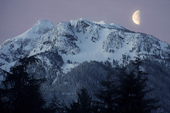 Half Moon Morning (justb) Tags: justin trees brown moon mountain snow colors forest sunrise canon silver hope early colorful bc snowy peak half peaks rise halfmoon justb 40d isolillock
