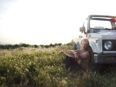 Breakdown. (David Talley) Tags: road light boy sunset shirtless sun field car warm jeep offroad off breakdown samurai suzuki mechanic