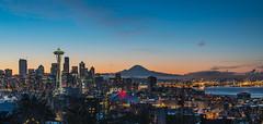 Morning Lights (NW Vagabond) Tags: seattle skyline dawn lights twilight spaceneedle elliottbay mtrainier