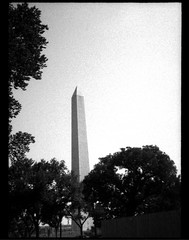 Washington Monument (yarnzombie) Tags: blackandwhite white black film monument rollei 35mm dc washington kodak olympus 400 frame half expired r3 2012 penee hc110b