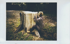 Day 016 (H o l l y.) Tags: portrait tree film nature girl fashion analog self vintage landscape weird photo lomography fuji mini retro stump indie flannel instant instax lomoinstant