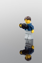 LegoDavePortrait (mark.mcgimpsey) Tags: stilllife reflection 50mm lego creative speedlight homestudio niftyfifty blacktile 2lightsetup diyphotography legodave nikond800 nifity50