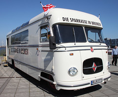 Mobile Bank Office (The Rubberbandman) Tags: world bus public mobile comfortable truck vintage germany office coach outdoor meeting bank lorry german transportation vehicle bremen van fahrzeug sparkasse lastwagen borgward lkw laster bo4500 bo4500f