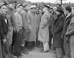 State police chief talks to head of strike committee: 1936 (washington_area_spark) Tags: plant 1936 md state labor union police maryland clash textile strike guards recognition cumberland arrest picket wages celanese