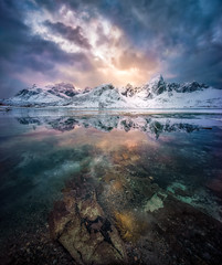 Lofoten Burning Sky (hpd-fotografy) Tags: winter light sky mountain snow cold reflection ice weather norway clouds north dramatic wideangle arctic fjord bluehour scandinavia lofoten