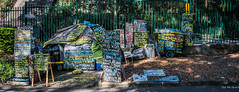 2016 - Sydney - Down Arrow (Ted's photos - For Me & You) Tags: park signs nikon homeless sydney australia wideangle tent cropped fencing vignetting ironfence 2016 hff belmore belmorepark sydneyau tedmcgrath tedsphotos nikonfx nikond750 belmoreparksydney
