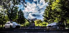 Car nature (@Dpalichorov) Tags: blue two sky blur cars monument nature sport clouds stairs punto spring nikon fiat bokeh ngc bluesky stairway bulgaria ladder peugeot 307 varna nikond3200 d3200